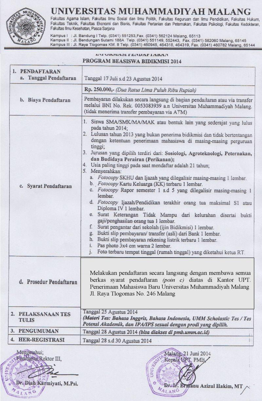 sini informasi pendaftaran bidik misi 2014 informasi pendaftaran jalur